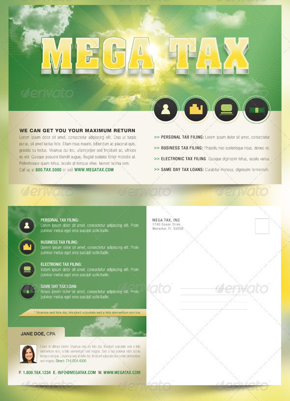 Mega Tax Flyer and Postcard Photoshop Template