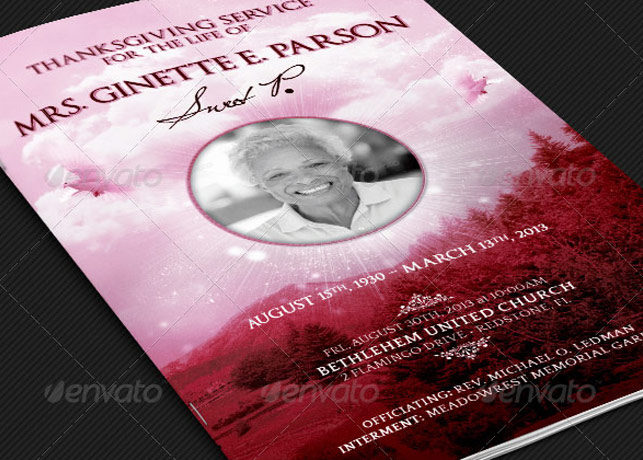 Pink Thanksgiving Funeral Program Template