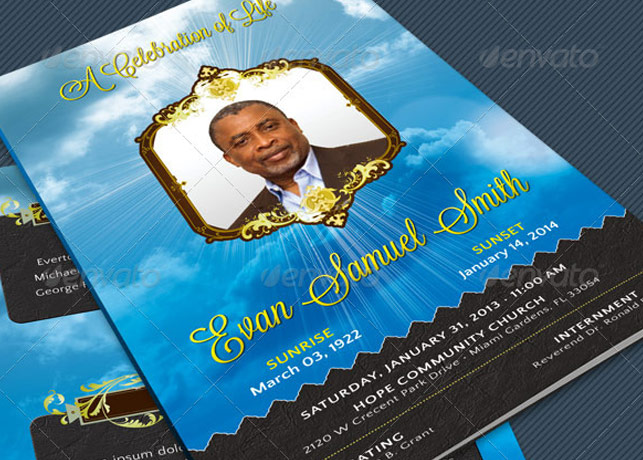 Vintage Style Funeral Program Template