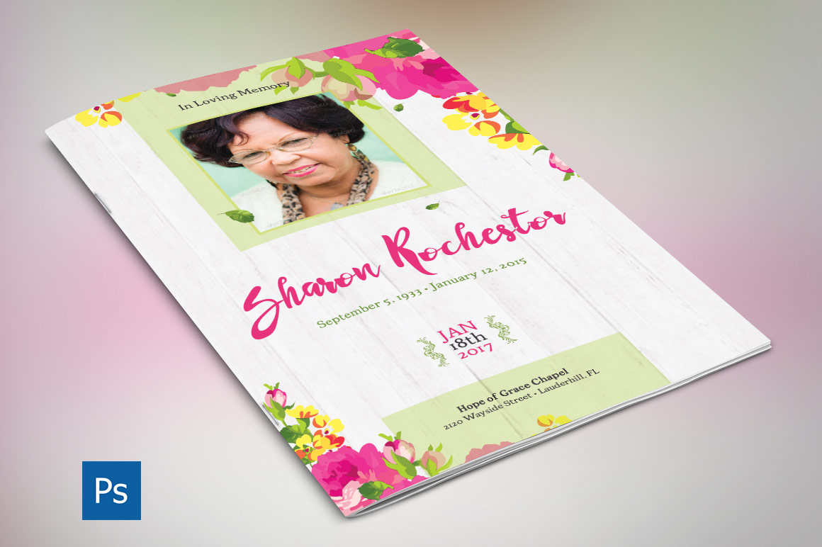 Floral Funeral Program Photoshop Template