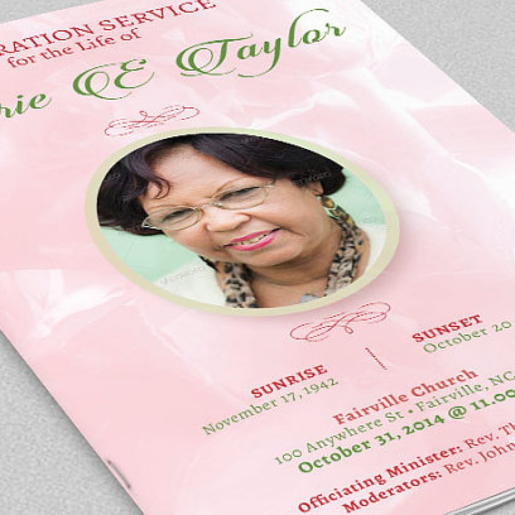 Pink Roses Funeral Program Template