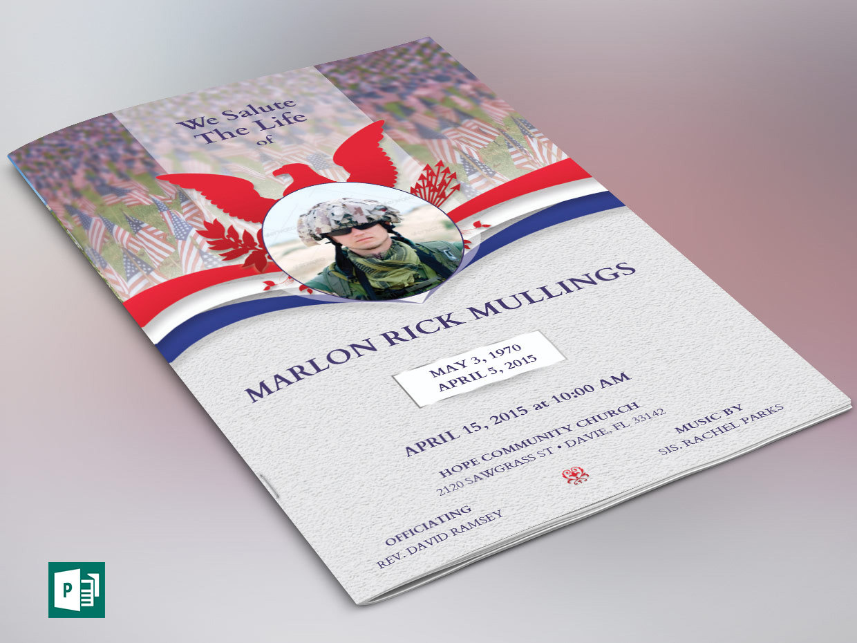 American Military Funeral Program Publisher Template