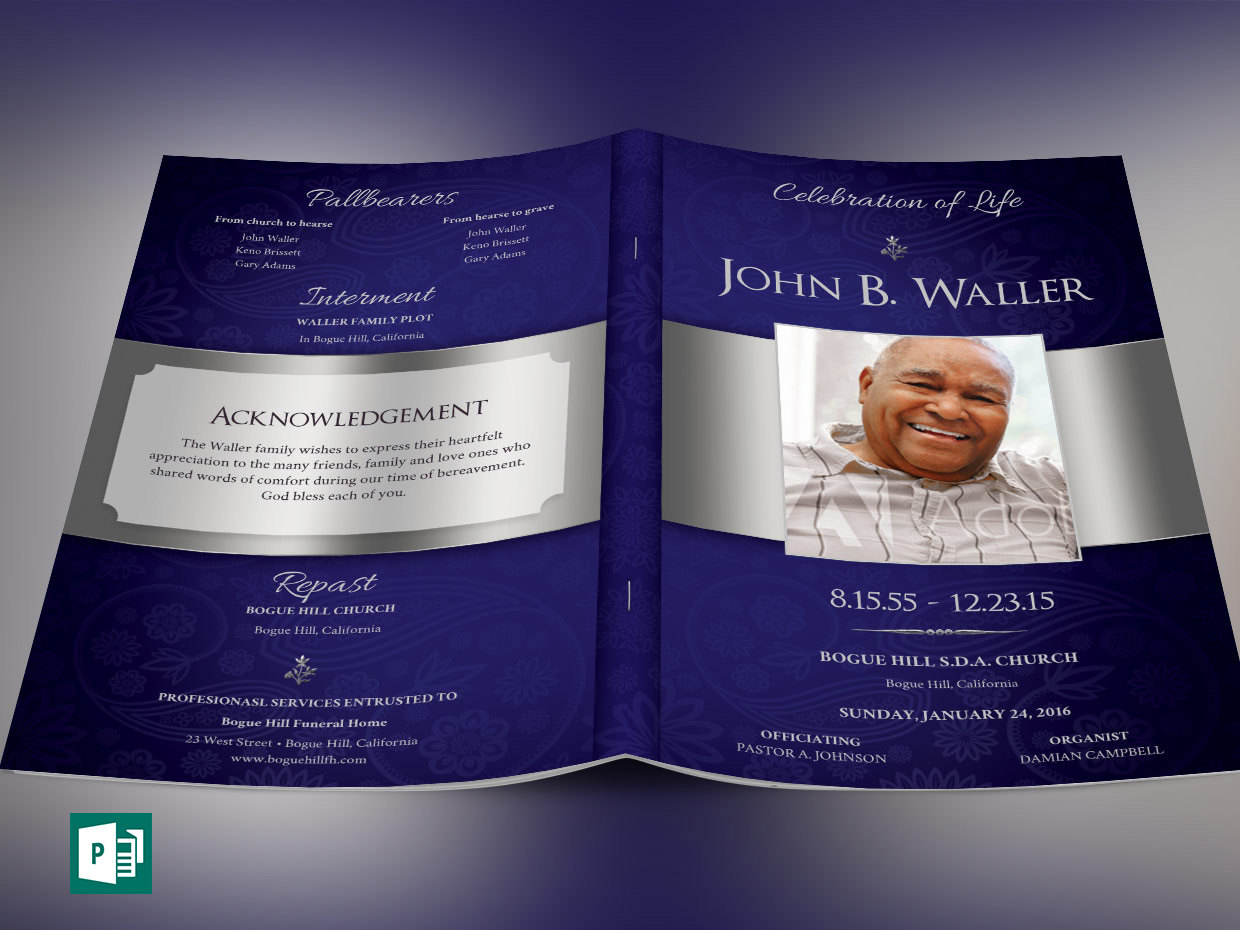 Dignity Funeral Program Publisher Template