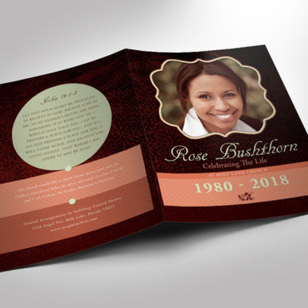 Leather Funeral Program Template