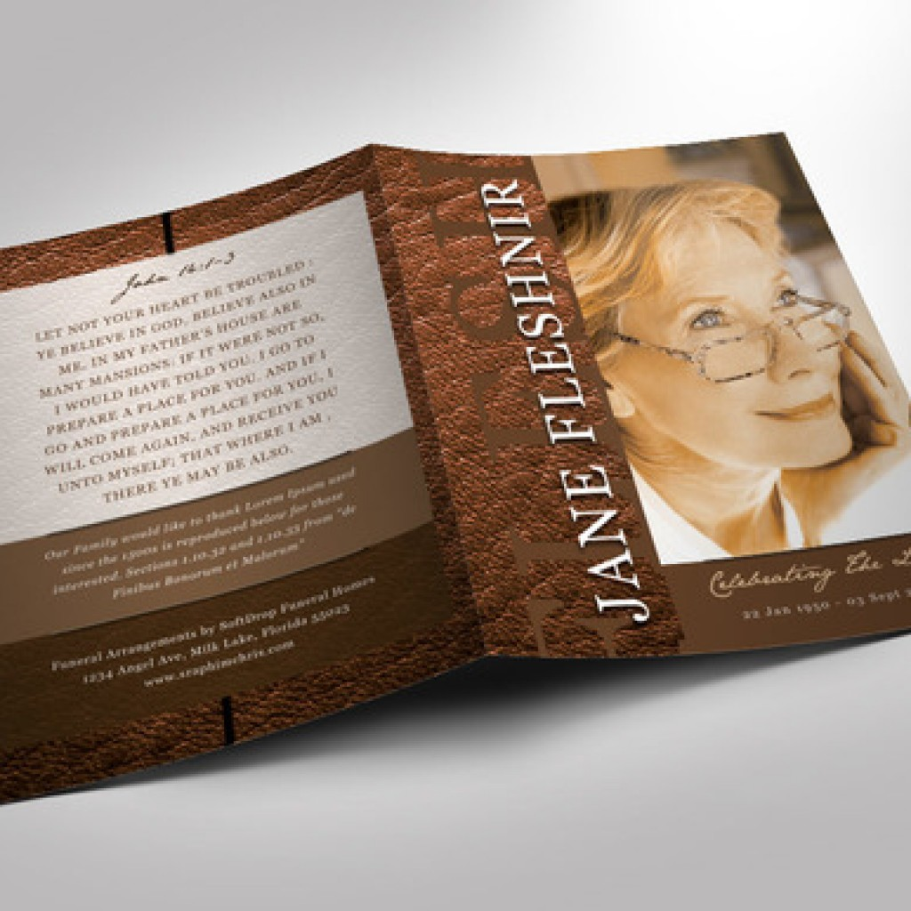 Leather Funeral Program Template 2