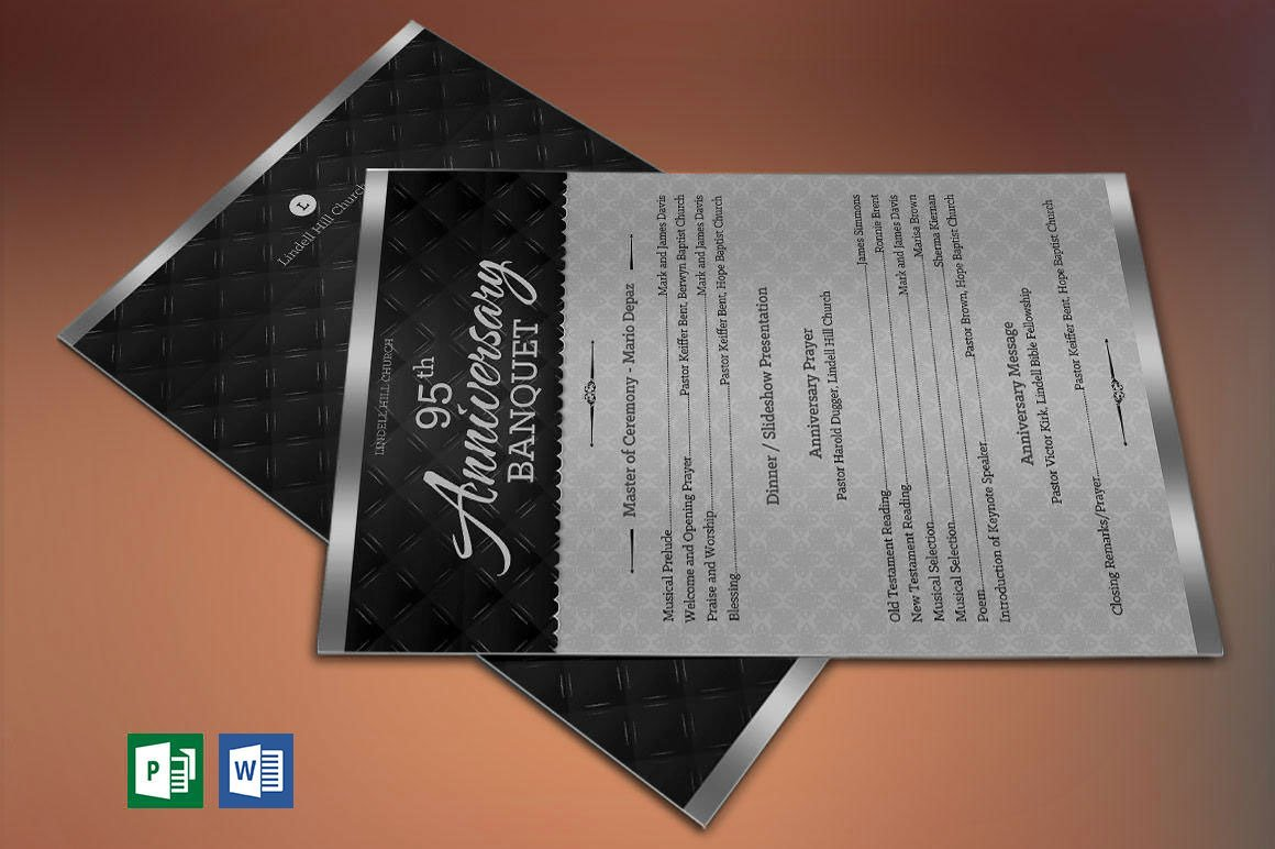 Silver Church Anniversary Program One Sheet Publisher Word Template